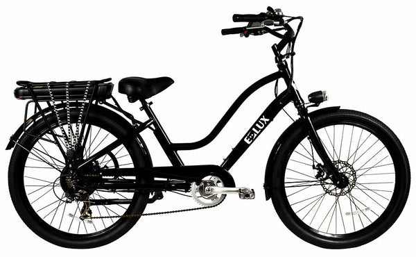 E-lux Newport Step Thru Electric Beach Cruiser Bike Gloss Black