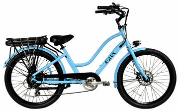 E-lux Newport Step Thru Electric Beach Cruiser Bike Powder Blue