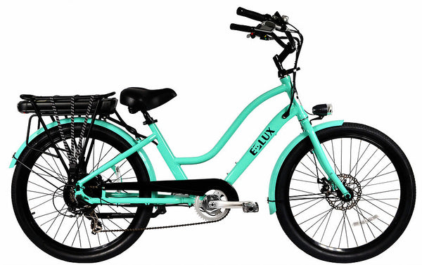 E-lux Newport Step Thru Electric Beach Cruiser Bike Sea Foam