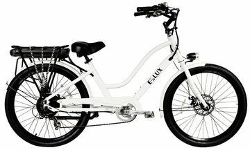 E-lux Newport Step Thru Electric Beach Cruiser Bike White