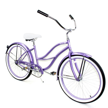 "Zycle Fix 26"" Paraiso Beach Cruiser Single-Speed Bike Purple"