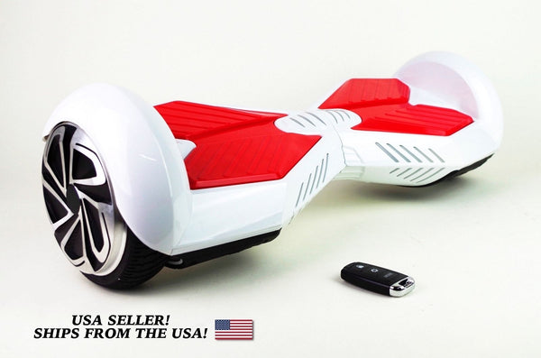 Side View Smart Self Balance Scooter Bluetooth White Red