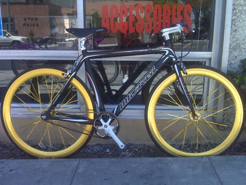 Micargi Prestigio Black Fixie with Gold Rims