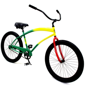 "Zycle Fix 26"" Cobra Beach Cruiser Single-Speed Bike Rasta"