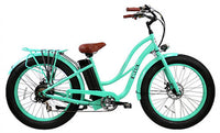 E-lux Tahoe Step Thru Electric Fat Tire Bike Sea Foam with Sea Foam Rims