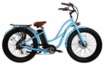 E-lux Tahoe Step Thru Electric Fat Tire Bike Powder Blue
