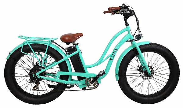 E-lux Tahoe Step Thru Electric Fat Tire Bike Sea Foam