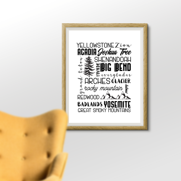 U.S. National Park Subway Art Printable