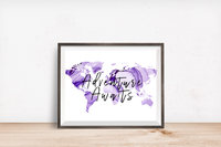 Adventure Awaits Purple Watercolor Map Printable