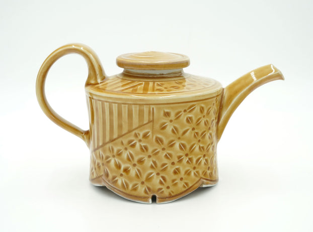 Walter Hyleck Scalloped Edge Amber Tea Pot