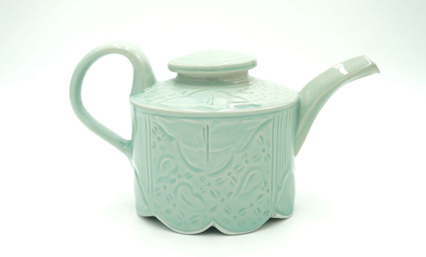 Walter Hyleck Celadon Footed Tea Pot