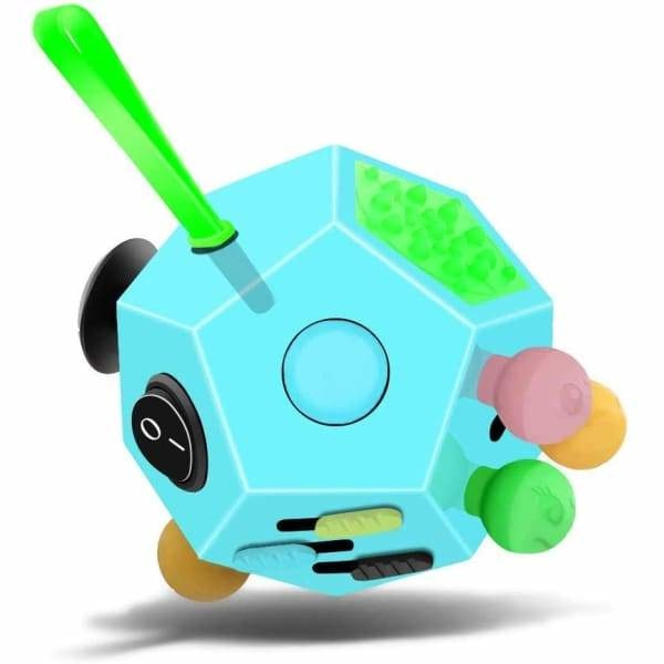 Fidget Cube 12 Faces Bleu - Object anti stress