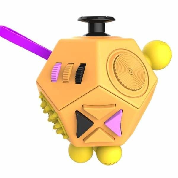 Fidget Cube 12 Faces Jaune - Object anti stress
