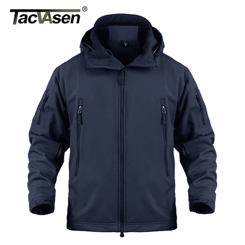 TACVASEN Airsoft Camouflage Men Jacket Coat Military Tactical Jacket Winter Fleece Waterproof Softshell Jackets Hike Hunt Jacket