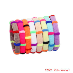 12pcs Color Random Girls Elastic Hair Bands Rubber Headbands Cute Head Decoration Accessories (1 bag)