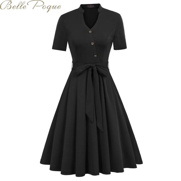Belle Poque vintage party dress retro pleated dresses women solid short sleeve elegant dresses summer 2019 woman