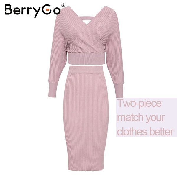 BerryGo Sexy v-neck knitted dress women Two-piece batwing sleeve female sweater dress Elegant pure ladies bodycon midi vestidos