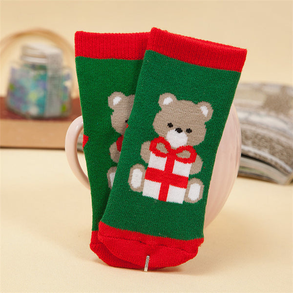 Christmas Baby Girls Boys Cotton Winter Autumn Warm Socks Children Striped Terry Snowflake Elk Santa Claus Bear Socks