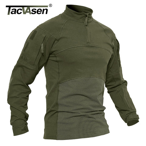 TACVASEN Men Tactical T-shirts Military Clothing Cotton Long Sleeve Airsoft Army T-shirts Male Lightweight Hunt Tops Paintball