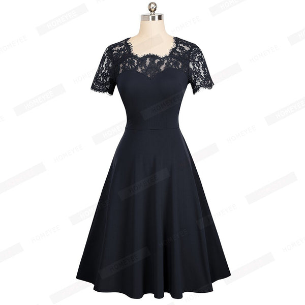 Female  Vintage Floral Lace Solid Color Casual Business Office Dress Elegant O-Neck Summer Swing Skater Dress EA119