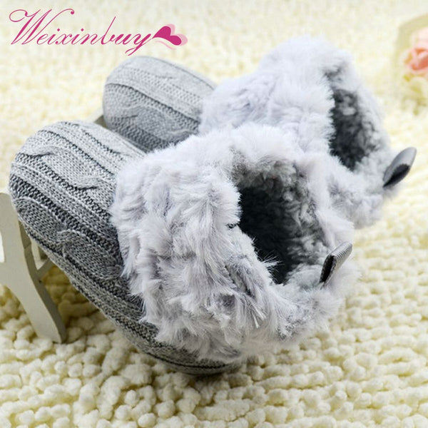 Winter Warm First Walkers Baby Ankle Snow Boots Infant Crochet Knit Fleece Baby Shoes For Boys Girls