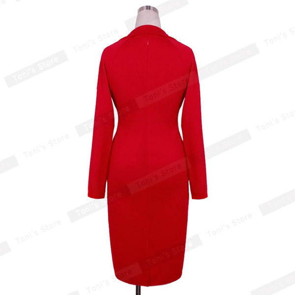 Nice-forever New Fashion Long Sleeve Office Lady Vintage Buttons formal red Tunic Wear To Work warm Sheath Bodycon Dress 749