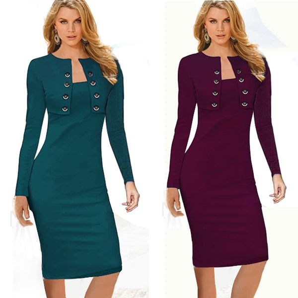 Autumn Winter Women Business Casual Sliming Pencil Dresses Elegant Long Sleeve Office Ladies Wear To Work EB10