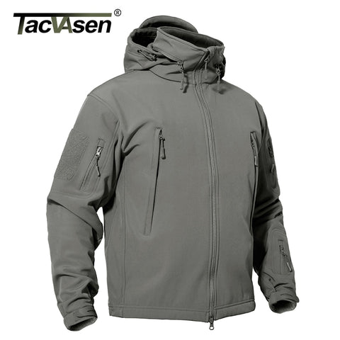 TACVASEN Tactical Softshell Jacket Men Winter Fleece Military Hoodies Windbreaker Waterproof Windproof Jacket Army Hunt Clothing