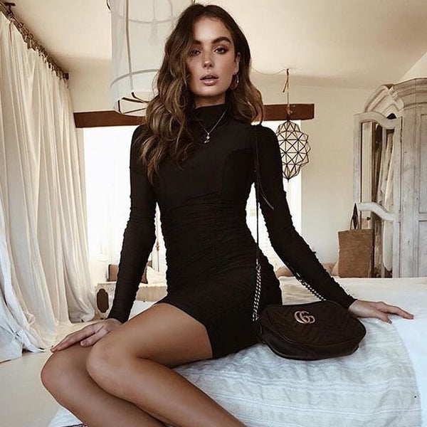 Hugcitar satin long sleeve high neck high waist bodycon sexy mini dress 2019 autumn winter women fashion party elegant clothes