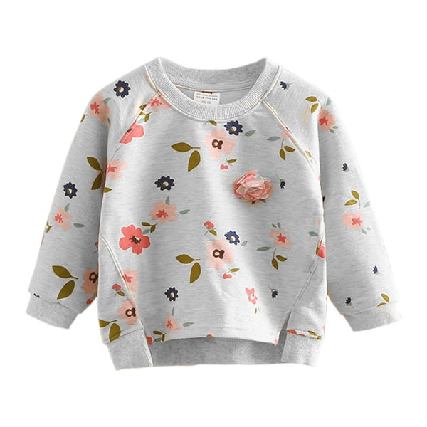 Girls Floral Printed Pullover Hoodies Toddler Casual Long Sleeve Sweatshirt Tops Children Pullover Clothes for Girls 2 3 4 5 6 T