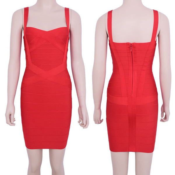 Ocstrade Women Summer Dress 2017 New Arrival Fashion Sexy Ladies Clothes Spaghetti Strap Rayon Bodycon Yellow Bandage Dress Red