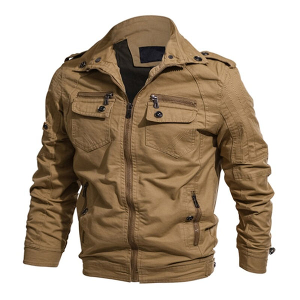 TACVASEN Men Military Jacket Autumn Cotton Cargo Flight Jacket Coat Men Army Safari Pilot Jacket Multi-Pockets Cargo Jaqueta 6XL