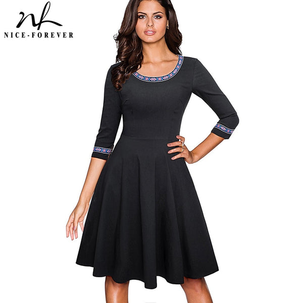 Nice-forever Vintage Embroidery Pattern Patchwork Elegant vestidos 3/4 Sleeve A-Line Pinup Business Women Flare Dress A066