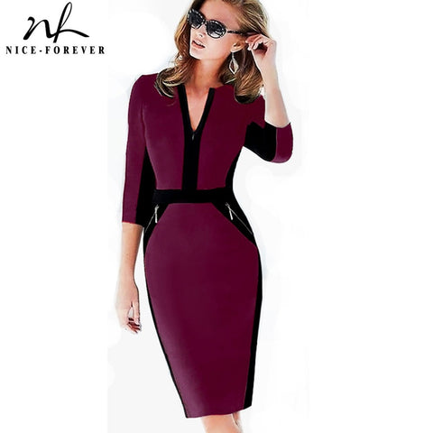 Nice-forever Office Women Zipper Plus Size fashion Patchwork V neck vestidos Wear to Work Formal bodycon Business Dress 837