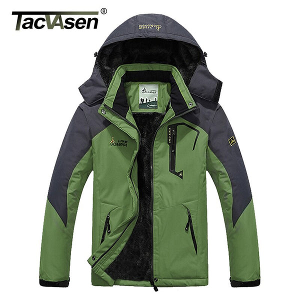 TACVASEN Winter Men Jacket Waterproof Hooded Fleece Jacket Coat Outerwear Man Casual Jacket Thermal Windbreaker Plus Size 6XL
