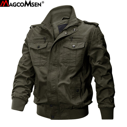 MAGCOMSEN Jackets Men Army Cargo Jackets Military Tactical Combat Jacket Coat Solid Bomber Jackets Pilot Coat Autumn AG-SSFC-34