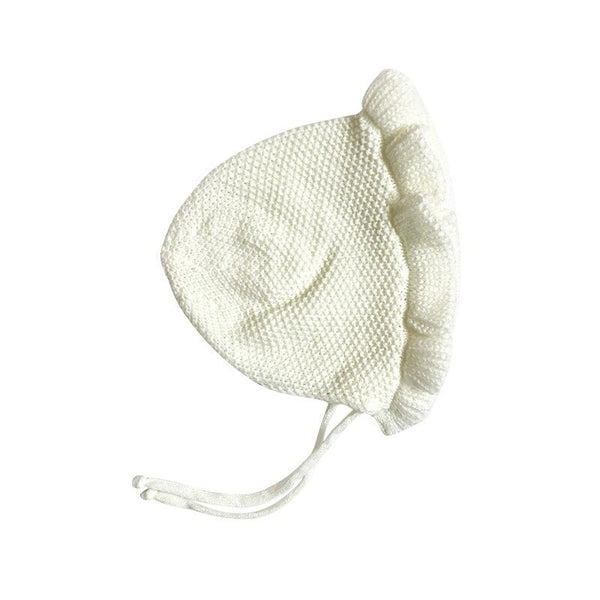 Spring Newborn Baby Hats Handmade Wool Ear Knitting Hats Monolayer Lotus Leaf Yarn Warmer Caps Kids Hats New