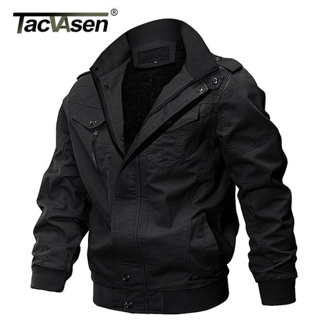 TACVASEN Winter Men Jacket Coat Military Fleeced Parka Jacket Thicken Casual Cotton Multi-pockets Cargo Jacket Coat Windbreaker