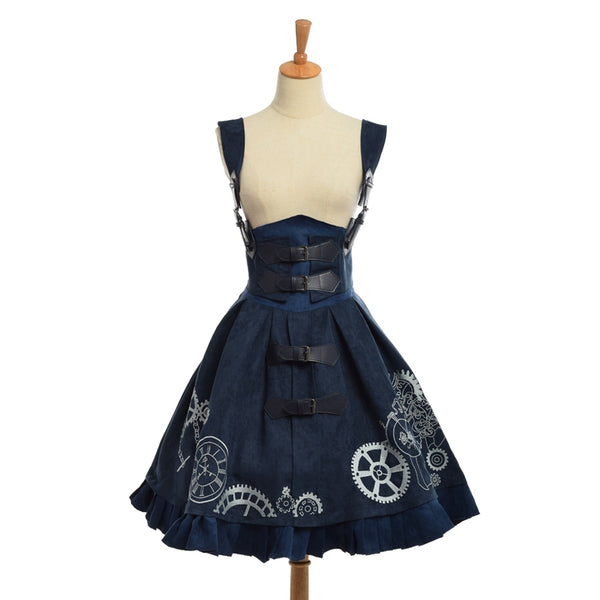 Elegant Gothic Steampunk Dress Vintage Women Victorian Period JSK Lolita Embroidered Lace-up Corset Suspender Costume Cosplay