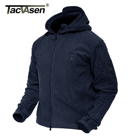 TACVASEN Winter Fleece Jacket Men Multi-Pockets Military Tactical Jacket Thermal Hooded Outdoor Hike Mountain Jackets Outwear
