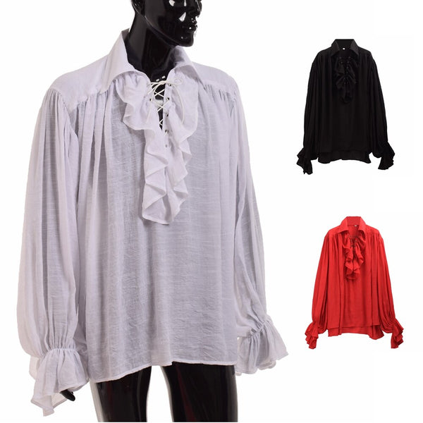 Vintage Medieval Shirt Men Renaissance Poet White Black Scottish Vampire Colonial Ruffles Jabot Blouse Long Sleeve Pirate Shirts
