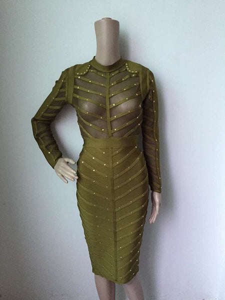 Free Shipping Hot New Fashion 2017 Sexy Olive Green Women See Through Bodycon Studded Bandage and Long Sleeve Mesh Club Dress