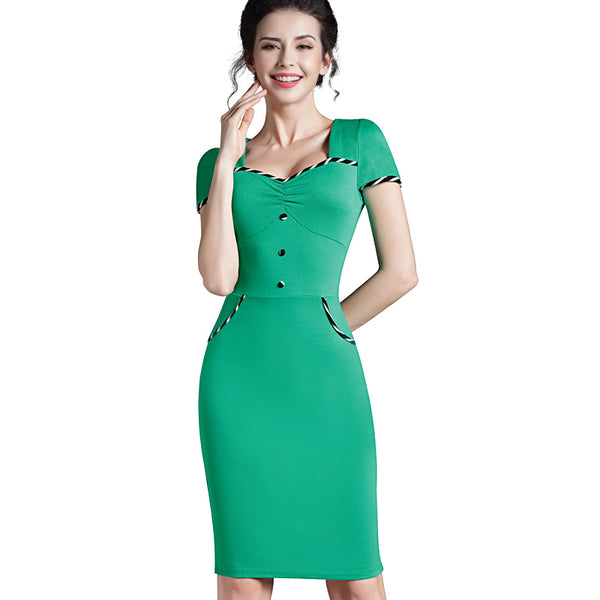 Nice-forever Fitted dress Women's summer Brief  Pinup Short Sleeve Square Neck Work Button Bodycon Chic Pencil Dress bty729