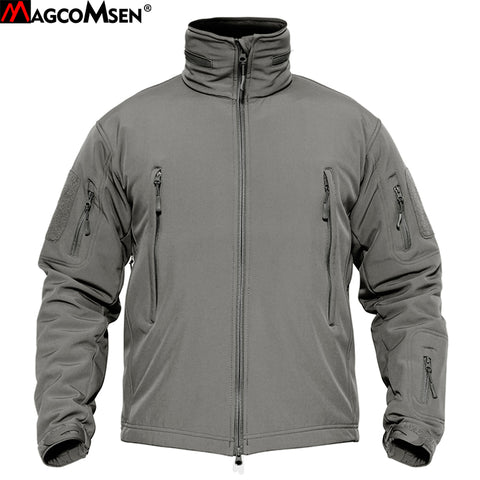 MAGCOMSEN Jackets Men Winter Softshell Fleece Tactical Jackets Army Military Hooded Coats Waterproof Windbreaker Hike Clothing
