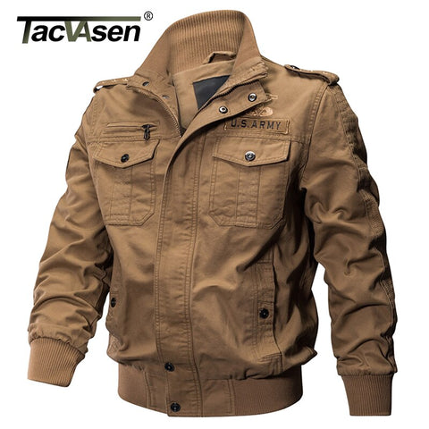 TACVASEN Men Military Jacket Winter Cotton Cargo Jacket Coat Army Pilot Jacket Autumn Men Bomber Flight Tactical Jacket Overcoat