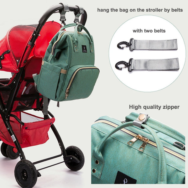 Baby diaper bag mommy stroller bags USB large capacity waterproof nappy bag kits mummy maternity travel backpack nursing handbag