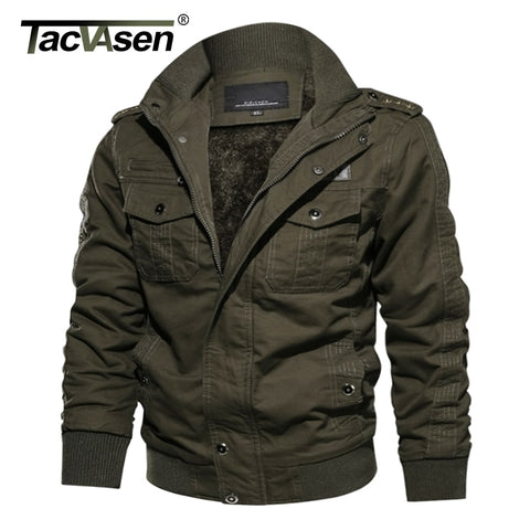 TACVASEN Military Jacket Men Winter Casual Cargo Jacket Coat Thick Army Pilot Bomber Jackets Cargo Jaqueta Outwear Fleece Lining