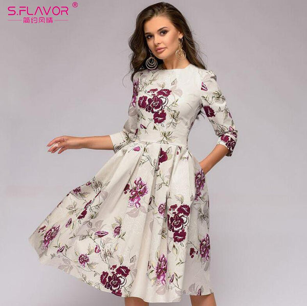 S.FLAVOR Women Elegant A-line Midi Dress Vintage printing party vestidos Three Quarter Sleeve women Slim Autumn Spring Dress