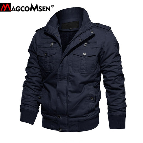 MAGCOMSEN Winter Fleece Jackets Men Warm Military Tactical Cargo Jacket Coat Thermal Pilot Bomber Jackets Army Cargo Windbreaker