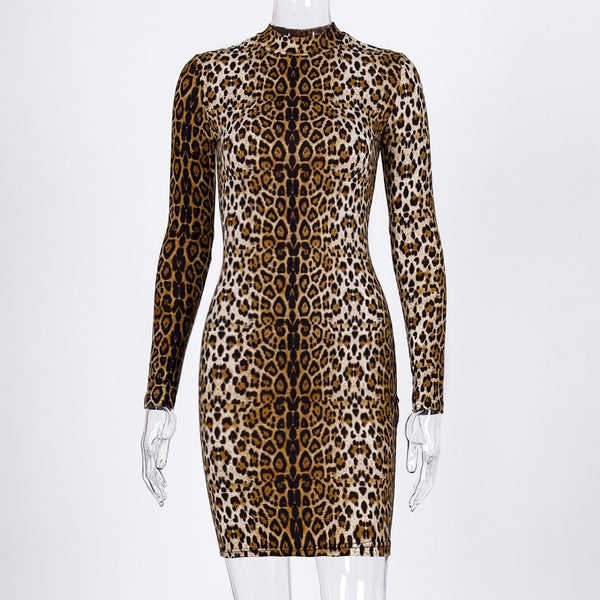 Hugcitar leopard print long sleeve slim bodycon sexy dress 2019 autumn winter women streetwear party festival dresses outfits